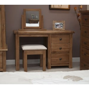 Homestyle Rustic Style Oak Furniture Dressing Table and Stool